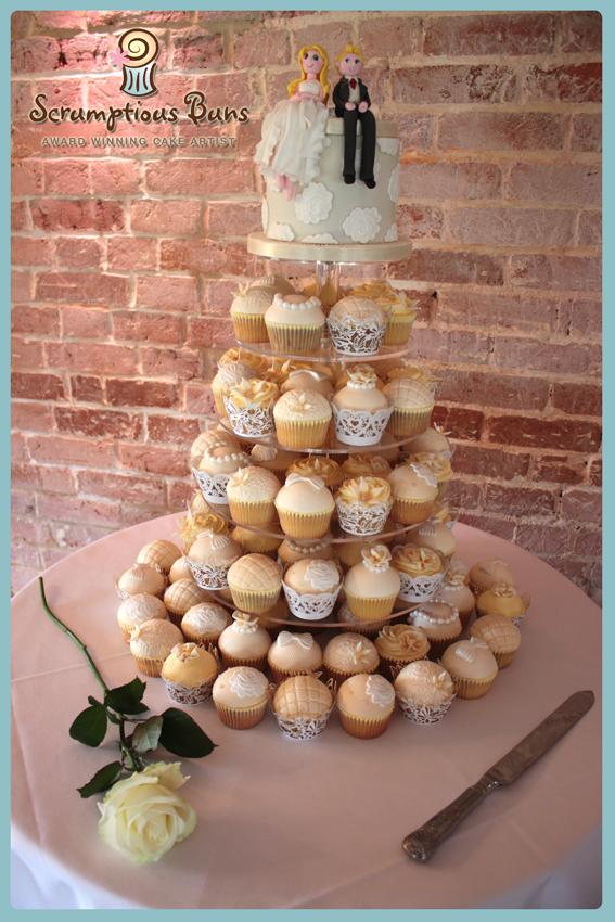 wedding cake cupcake tower