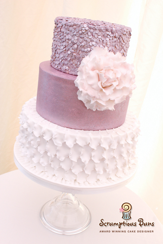 wedding cake norwich norfolk sequins ruffles peony tiered 3 tier