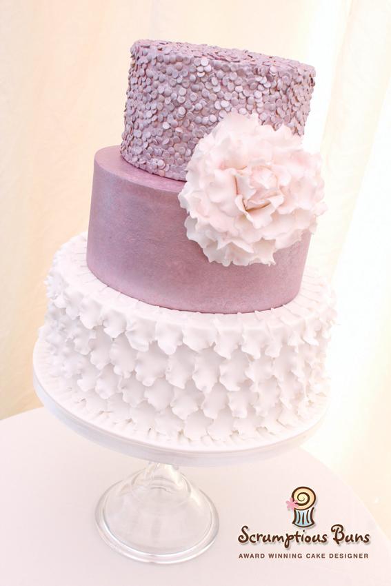 wedding cake norwich norfolk sequins ruffles peony tiered 3 tier